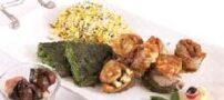 طرز تهیه سبزی پلو با ماهی قزل آلا رول شده