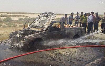 خودرویی که از شدت گرما در آتش سوخت !+ عکس