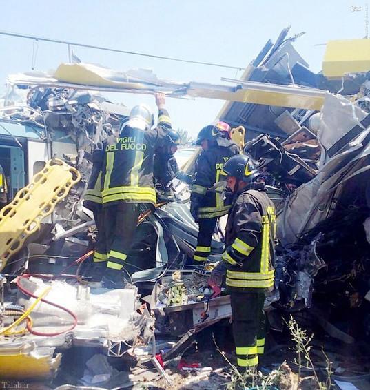 برخورد مرگبار دو قطار در ایتالیا !+ عکس