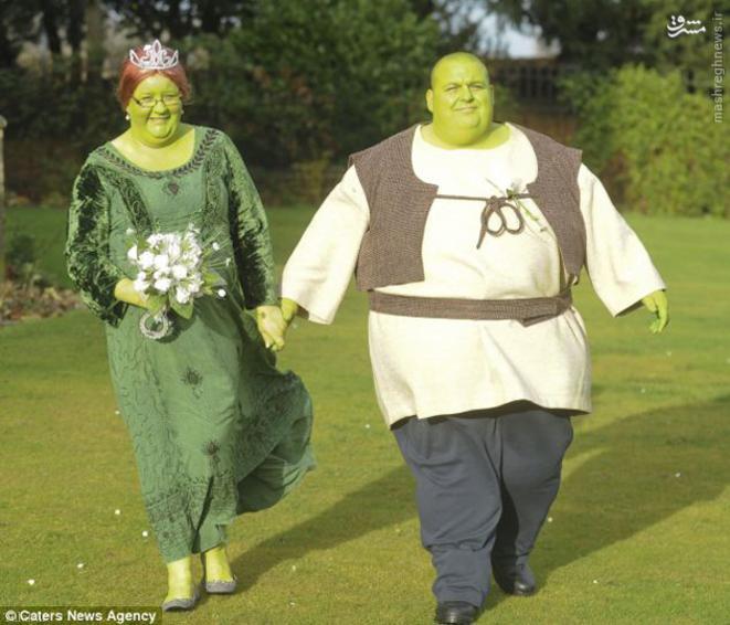 ازدواج جالب یک زوج به سبک شرک و فیونا !+ تصاویر