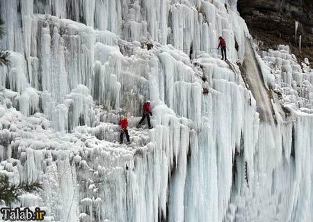 تصاویری بسیار هیجان برانگیز از آبشار منجمد