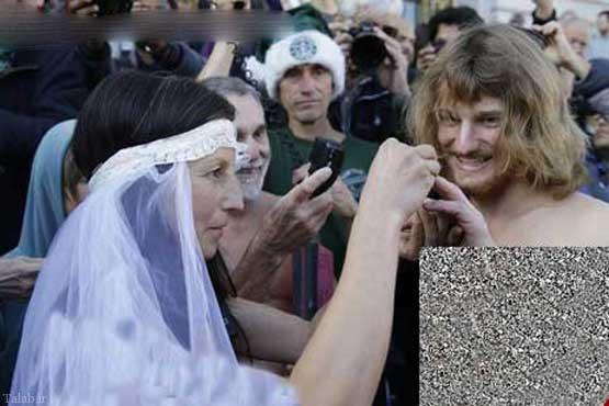 دستگیری عروس و داماد برهنه در خیابان + تصاویر