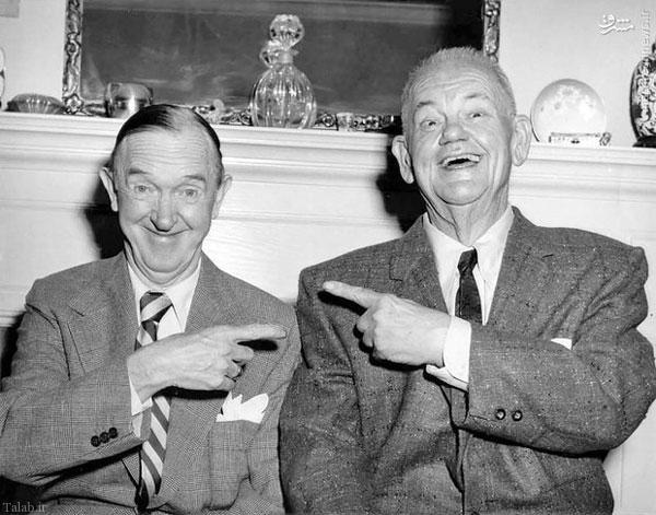 عکسی از بازیگران طنز لورل و هاردی در دوران پیری