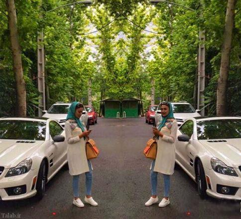 خانم بازیگر 30 ساله در ماشین لوکسش (+عکس)