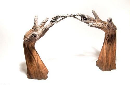 تصاویر جالب مجسمه های سرامیکی طرح چوب