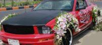 عکس ماشین عروس جالب خطاطی شده با خط نستعلیق