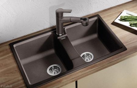 نمونه ای سینک های مشکی و قهوه ای آشپزخانه