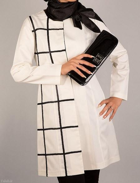 زیباترین مدل مانتو های دو رنگ سیاه سفید