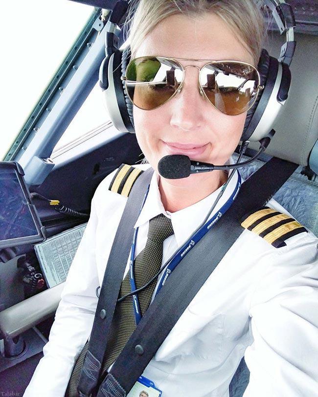 تصاویری جالب از سلفی این دختر خلبان در اینستاگرامش