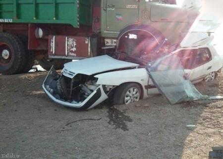 تصادف وحشتناک زانتیا با کامیون (+عکس)