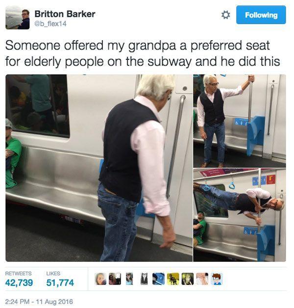تصویری جالب از پدر بزرگ 68 ساله