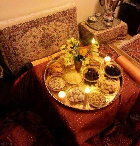 سفره مخصوص شب یلدا زیبا با تزیینات زیبا