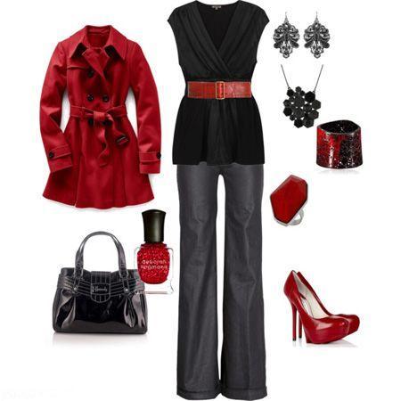 مدل ست لباس زمستانی زنانه به رنگ قرمز و سیاه