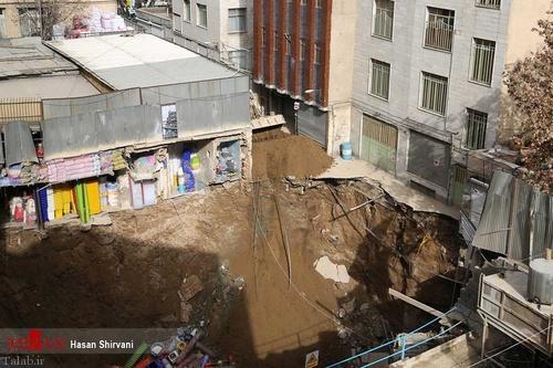 نشست زمین در خیابان مولوی تهران (عکس)