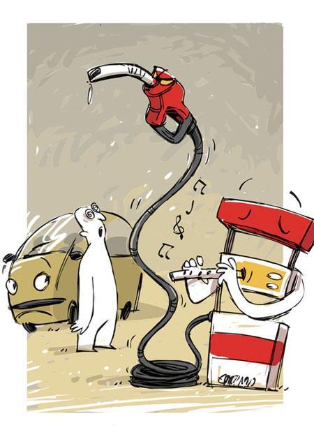 کاریکاتور طنز بنزین دو نرخی و گران