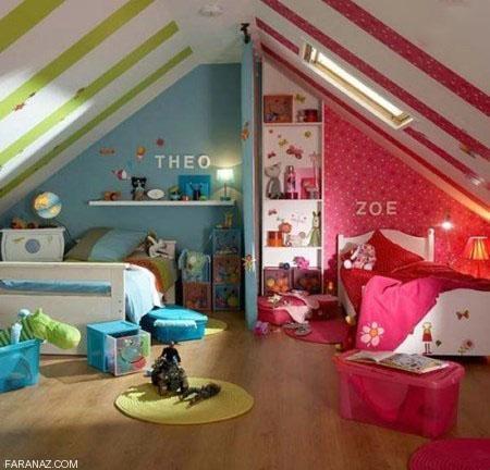 دکوراسیون و چیدمان اتاق دوقلوی پسر و دختر