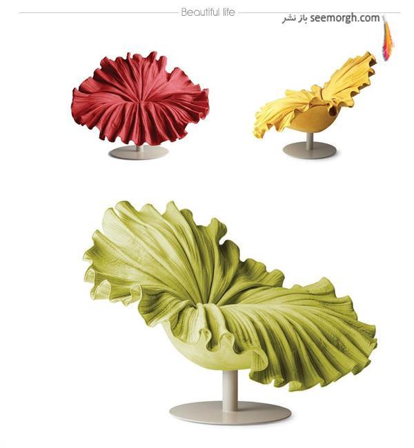 مدل های های جذاب صندلی به شکل برگی در رنگ های مختلف