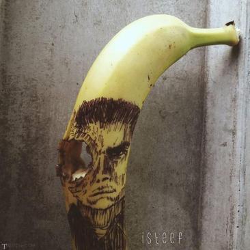 تصاویری هنرمندانه زیبا از هنرهای دستی بر روی موز