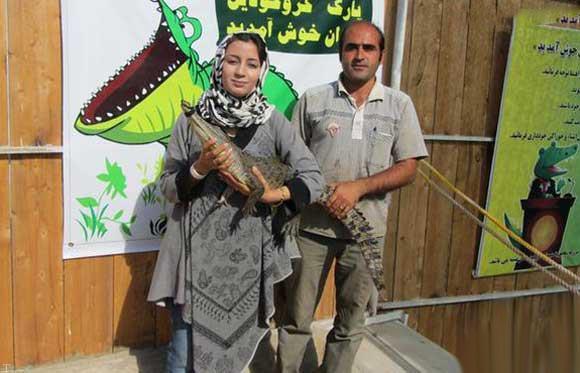 دختر جذاب ایرانی که با کروکدیل ها زندگی می کند + عکس