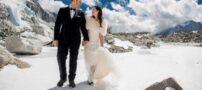 ازدواج در قله اورست عروس و داماد (عکس)