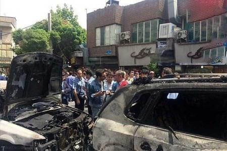 تصاویری از خودروی سوخته امین زندگانی