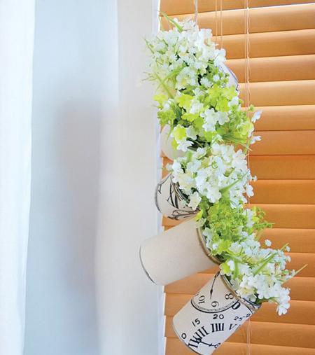 روش ساخت گلدان با قوطی های بازیافتی