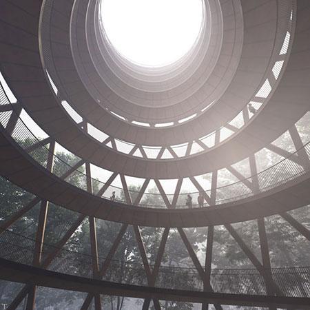 «برج مشاهده» میان جنگل با دیدگاه پانوراما