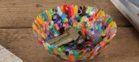 شیوه ی ساخت کاسه تزیینی با پلاستیک های رنگی