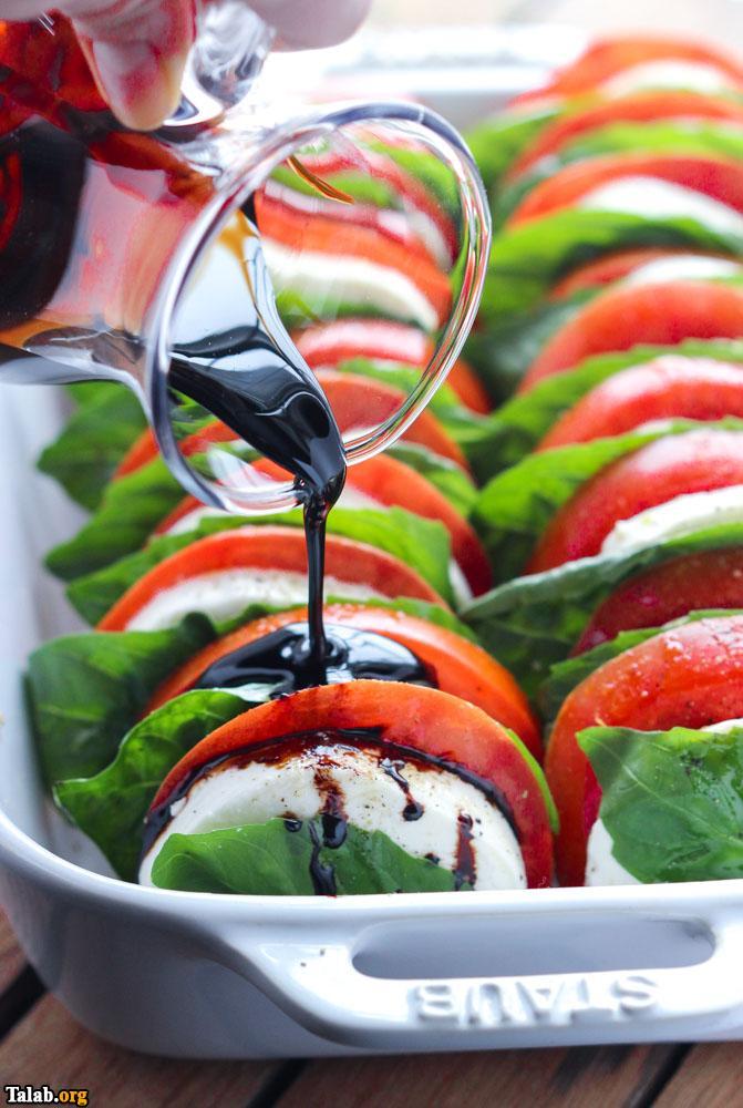 آموزش تهیه سالاد گوجه و موتزارلا ایتالیایی عالی
