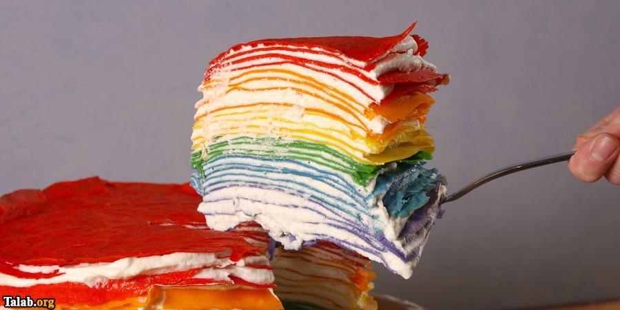 آموزش پخت کرپ کیک رنگین کمانی خوشمزه و عالی