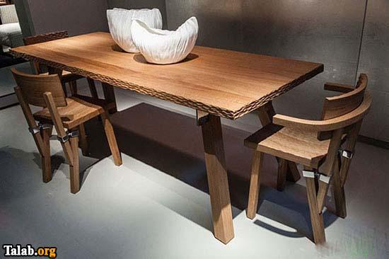 طراحی شیک و ساده میز ناهارخوری چوبی