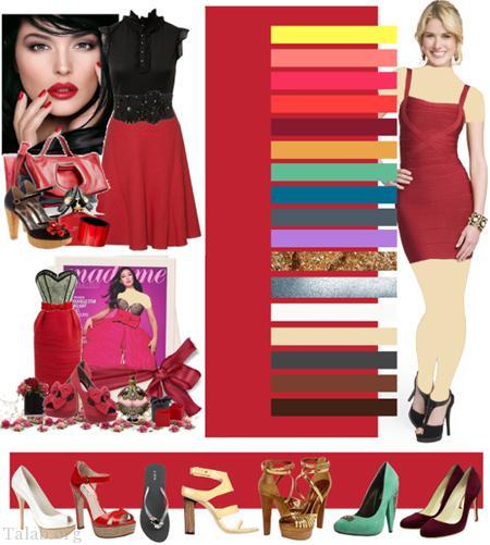 شیوه ست نمودن لباس با رنگ قرمز