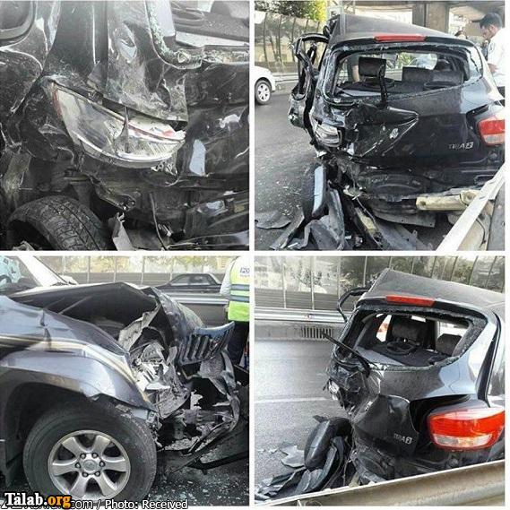 واژگونی شدید خودروی پرادو با تیبا (عکس)