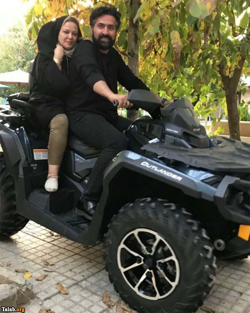 موتور سواری بهاره رهنما و همسر جدیدش (عکس)