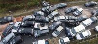 تصادف زنجیره ای در ولنجک تهران (عکس)