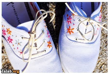 آموزش زیباسازی کفش های قدیمی با گلدوزی