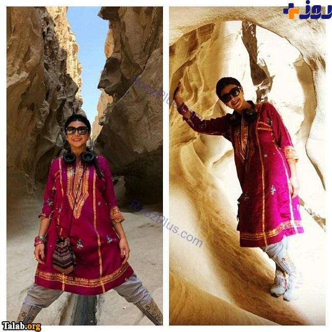 پوشش سنتی آزاده صمدی در قشم (عکس)