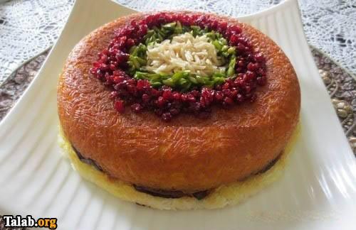 طرز تهیه غذای کامل ته چین گوشت تهرانی