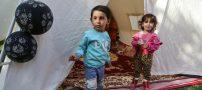 جشن تولد کودک زلزله زده توسط هلال احمر در کرمانشاه (+عکس)