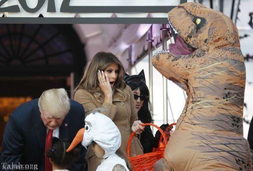 برپایی فستیوال هالووین در کاخ سفید همراه با ترامپ و خانواده اش
