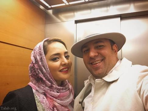 علی اوجی و نرگس محمدی دو کبوتر عاشق در آسانسور منزل (عکس)