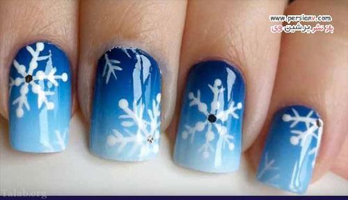نمونه های جذاب از طراحی های ناخن با طرح برفی در زمستان
