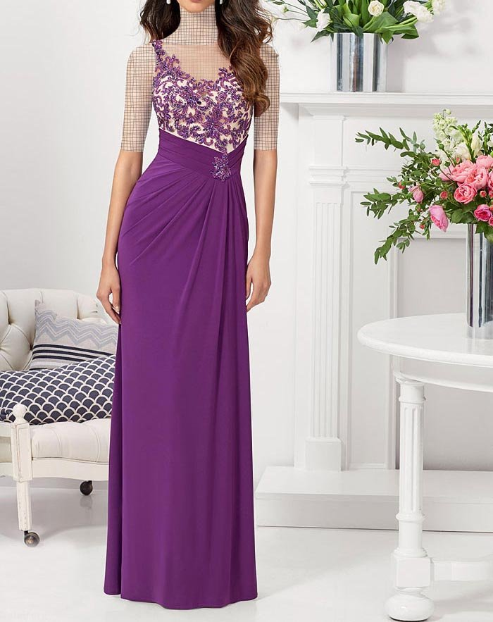 مدل لباس مجلسی گیپور بلند جوان پسند 99 - 2020