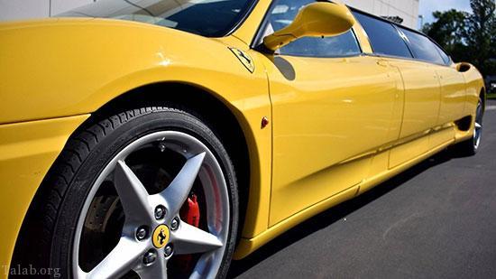 خودروی لیموزین فراری به رنگ زرد قناری (+تصاویر)