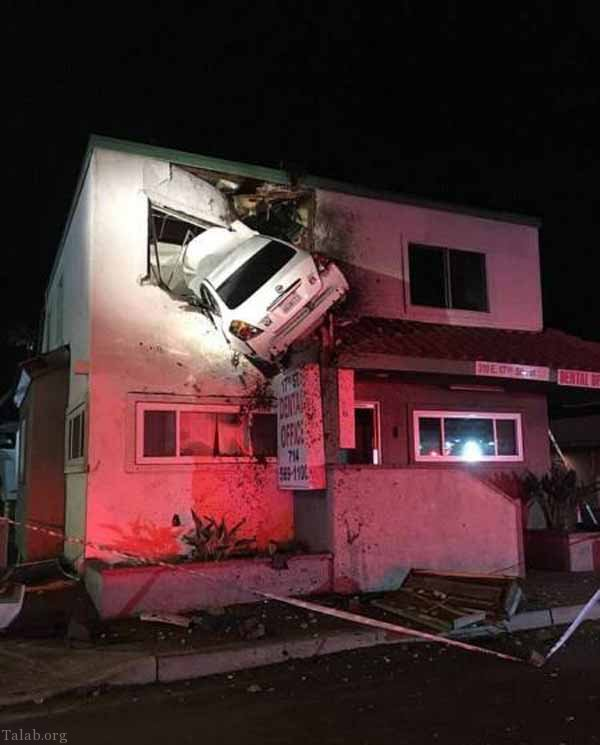 تصادف عجیب این ماشین با ساختمان (عکس)