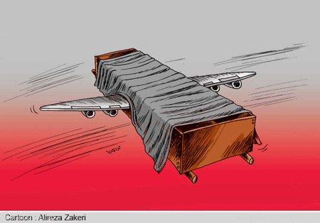 کاریکاتور های تلخ از سقوط هواپیما در آسمان ایران