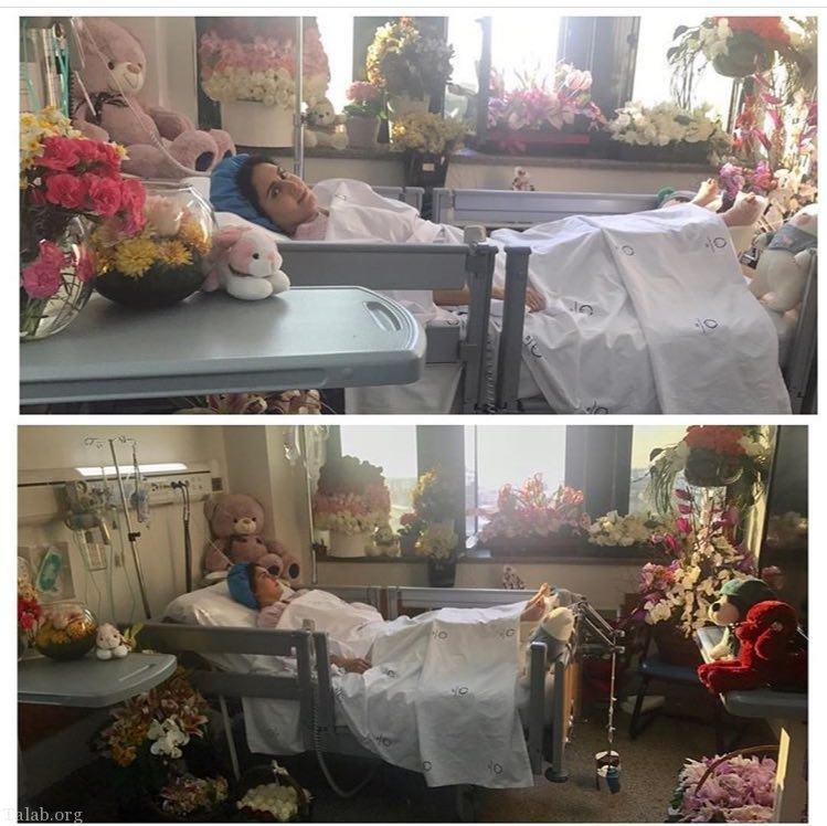 الناز شاكردوست و اتاق پر از گل و عروسک در بیمارستان (عکس)