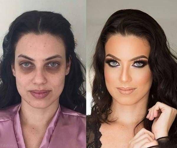 عکس زنان قبل و بعد از آرایش صورت | معجزه آرایش صورت در زیبایی زنان