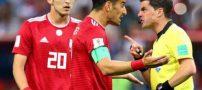 برخورد تبعیض آمیز داور بازی با بازیکنان ایرانی (عکس)