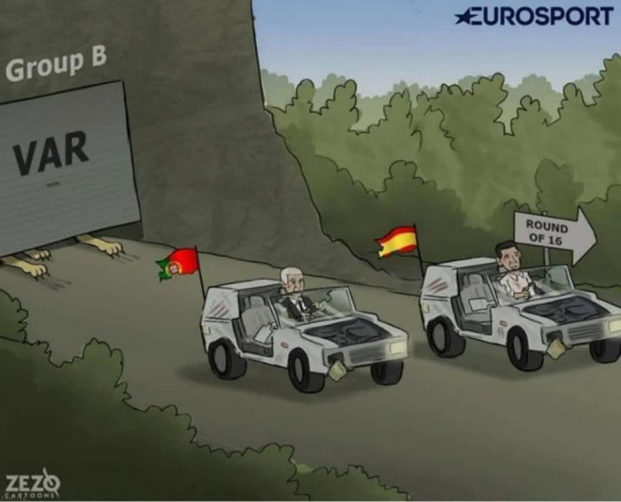 کاریکاتور صعود اسپانیا و پرتغال به کمک VAR (عکس)
